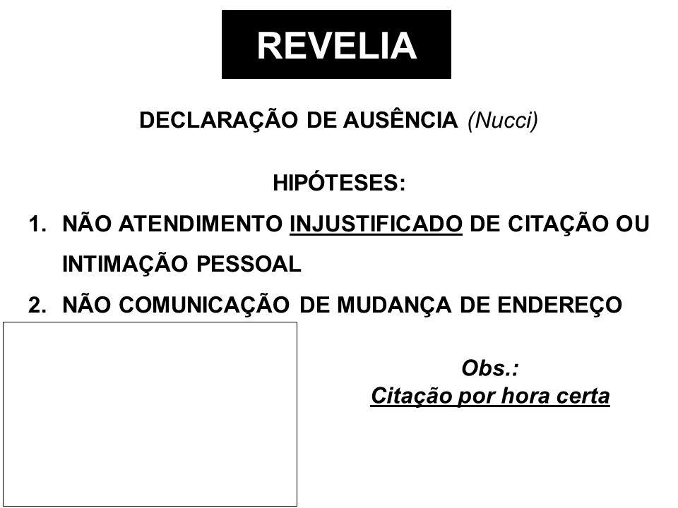 REVELIA DECLARAÇÃO DE AUSÊNCIA (Nucci) HIPÓTESES: 1.NÃO ATENDIMENTO INJUSTIFICADO DE CITAÇÃO OU INTIMAÇÃO PESSOAL 2.NÃO COMUNICAÇÃO DE MUDANÇA DE ENDE