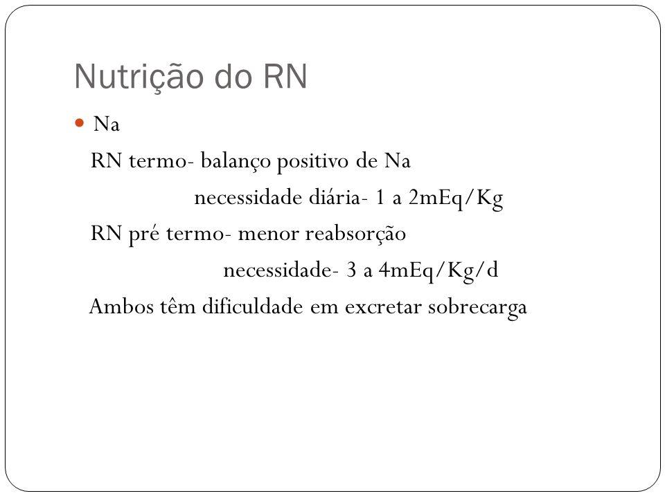 Nutrição do RN Na RN termo- balanço positivo de Na necessidade diária- 1 a 2mEq/Kg RN pré termo- menor reabsorção necessidade- 3 a 4mEq/Kg/d Ambos têm