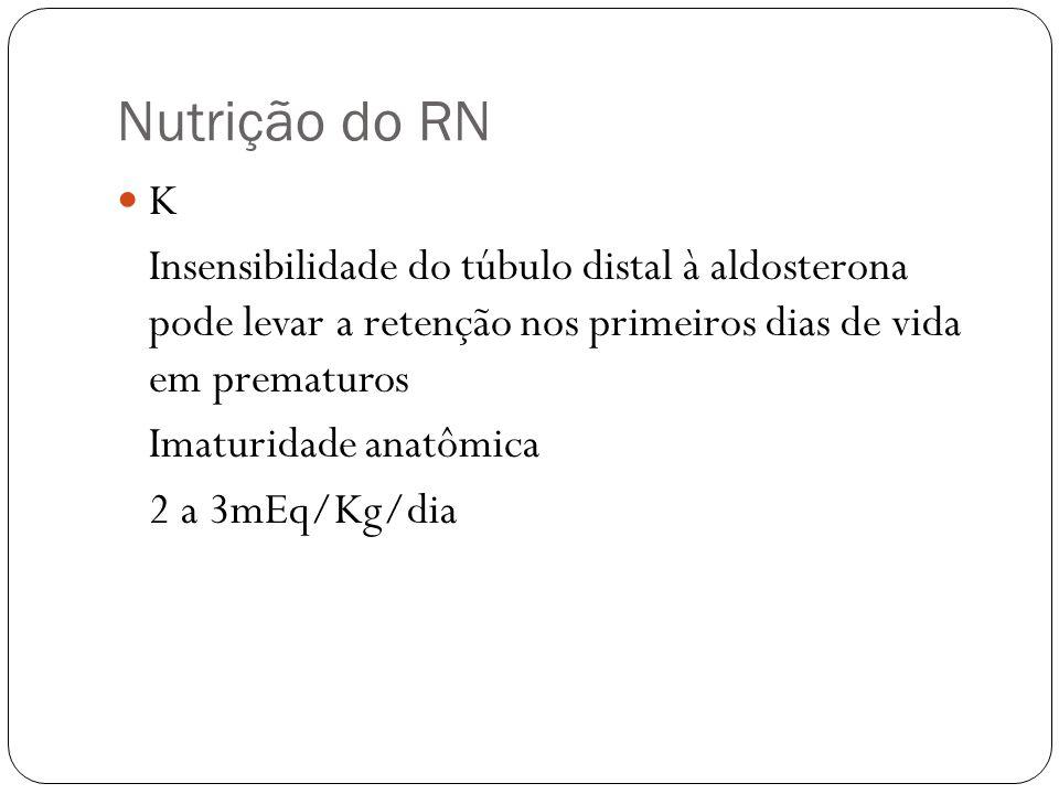 Nutrição do RN K Insensibilidade do túbulo distal à aldosterona pode levar a retenção nos primeiros dias de vida em prematuros Imaturidade anatômica 2