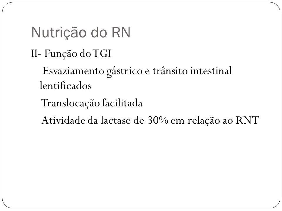 Nutrição do RN II- Função do TGI Esvaziamento gástrico e trânsito intestinal lentificados Translocação facilitada Atividade da lactase de 30% em relaç