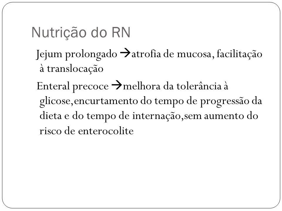 Nutrição do RN Jejum prolongado atrofia de mucosa, facilitação à translocação Enteral precoce melhora da tolerância à glicose,encurtamento do tempo de