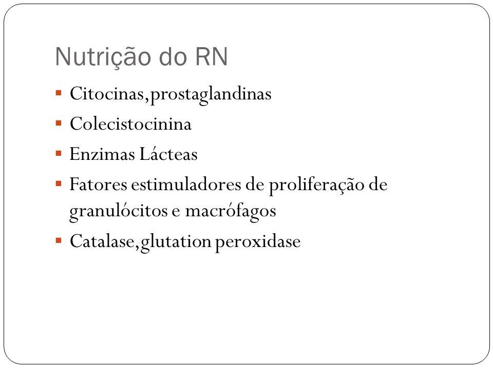 Nutrição do RN Citocinas,prostaglandinas Colecistocinina Enzimas Lácteas Fatores estimuladores de proliferação de granulócitos e macrófagos Catalase,g
