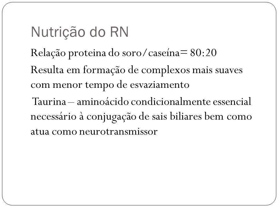 Nutrição do RN Relação proteina do soro/caseína= 80:20 Resulta em formação de complexos mais suaves com menor tempo de esvaziamento Taurina – aminoáci