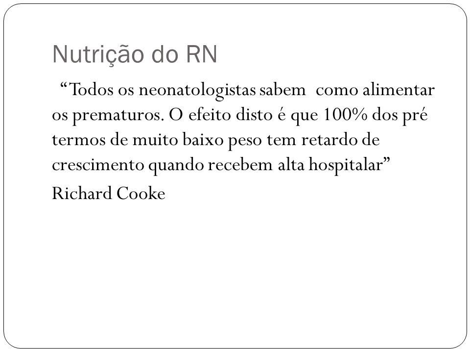 Nutrição do RN Todos os neonatologistas sabem como alimentar os prematuros. O efeito disto é que 100% dos pré termos de muito baixo peso tem retardo d