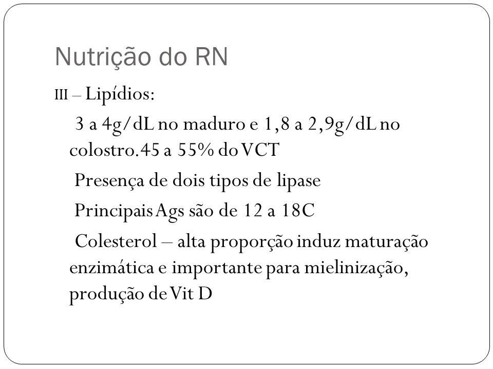 Nutrição do RN III – Lipídios: 3 a 4g/dL no maduro e 1,8 a 2,9g/dL no colostro.45 a 55% do VCT Presença de dois tipos de lipase Principais Ags são de