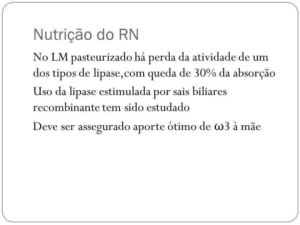 Nutrição do RN No LM pasteurizado há perda da atividade de um dos tipos de lipase,com queda de 30% da absorção Uso da lipase estimulada por sais bilia
