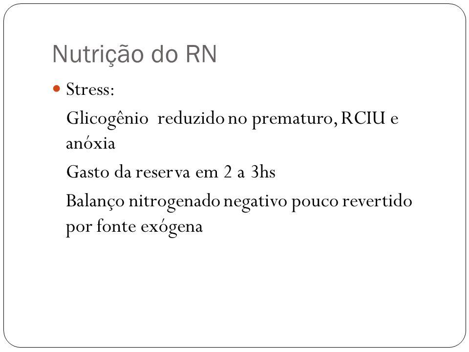 Nutrição do RN Stress: Glicogênio reduzido no prematuro, RCIU e anóxia Gasto da reserva em 2 a 3hs Balanço nitrogenado negativo pouco revertido por fo