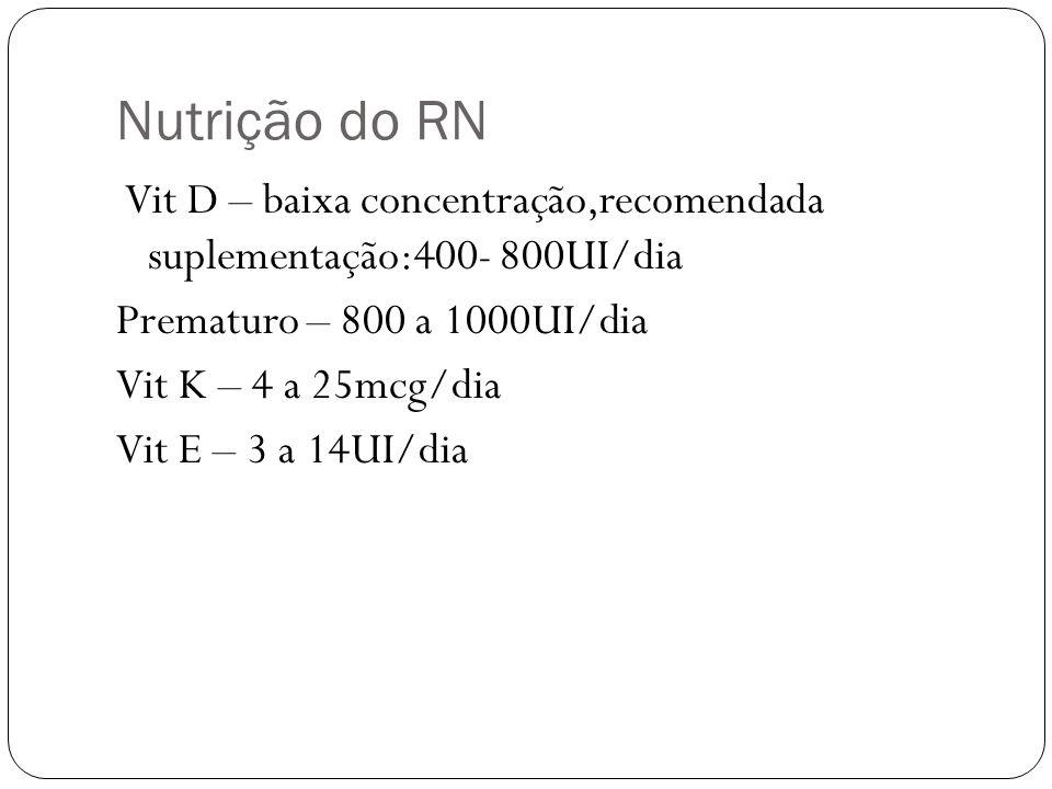 Nutrição do RN Vit D – baixa concentração,recomendada suplementação:400- 800UI/dia Prematuro – 800 a 1000UI/dia Vit K – 4 a 25mcg/dia Vit E – 3 a 14UI