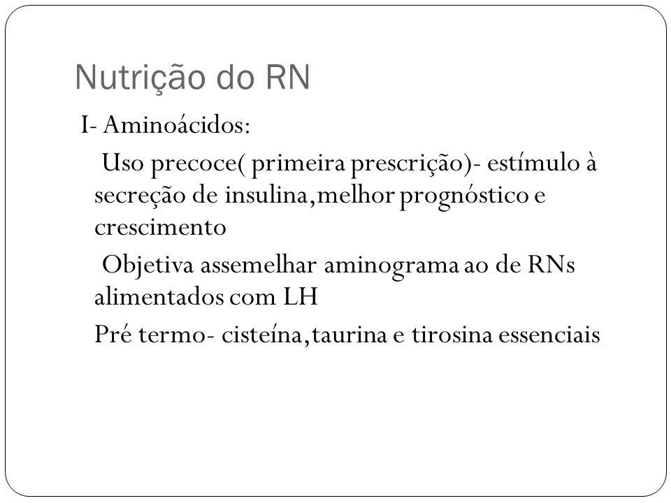 Nutrição do RN I- Aminoácidos: Uso precoce( primeira prescrição)- estímulo à secreção de insulina,melhor prognóstico e crescimento Objetiva assemelhar