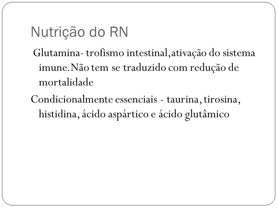 Nutrição do RN Glutamina- trofismo intestinal,ativação do sistema imune.Não tem se traduzido com redução de mortalidade Condicionalmente essenciais -