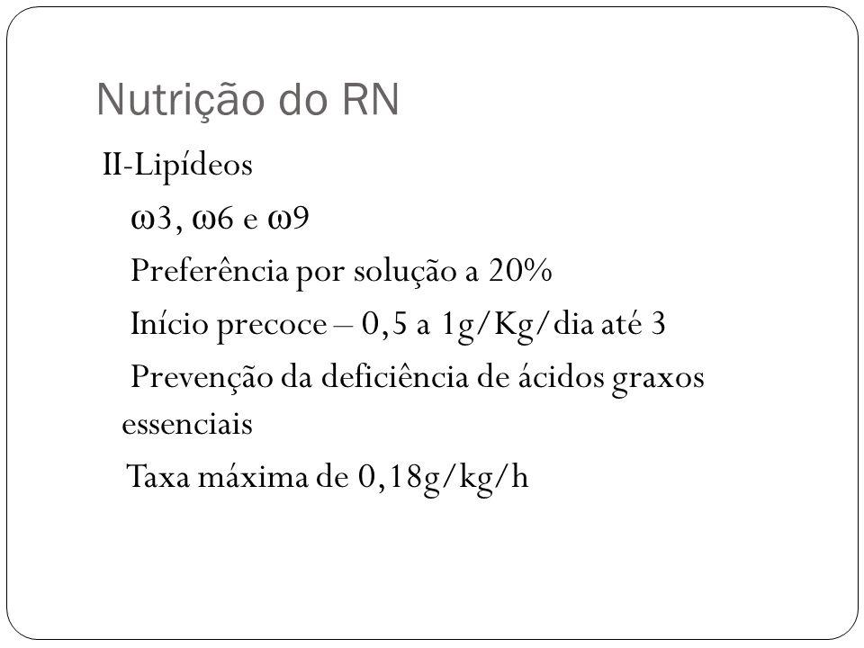 Nutrição do RN II-Lipídeos ω 3, ω 6 e ω 9 Preferência por solução a 20% Início precoce – 0,5 a 1g/Kg/dia até 3 Prevenção da deficiência de ácidos grax