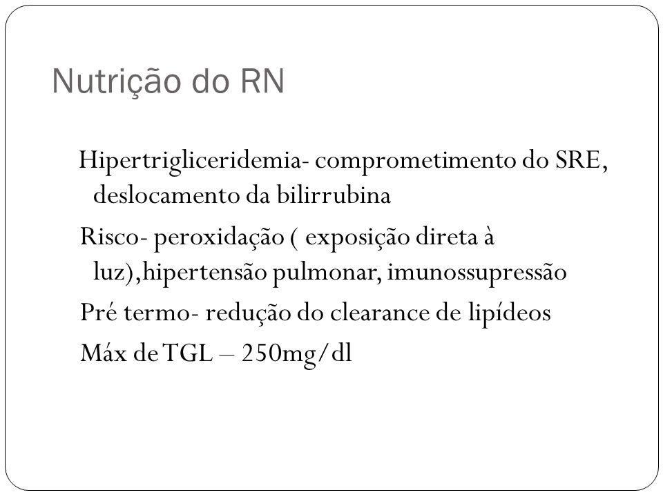 Nutrição do RN Hipertrigliceridemia- comprometimento do SRE, deslocamento da bilirrubina Risco- peroxidação ( exposição direta à luz),hipertensão pulm