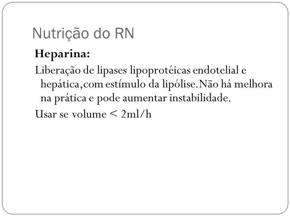 Nutrição do RN Heparina: Liberação de lipases lipoprotéicas endotelial e hepática,com estímulo da lipólise.Não há melhora na prática e pode aumentar i