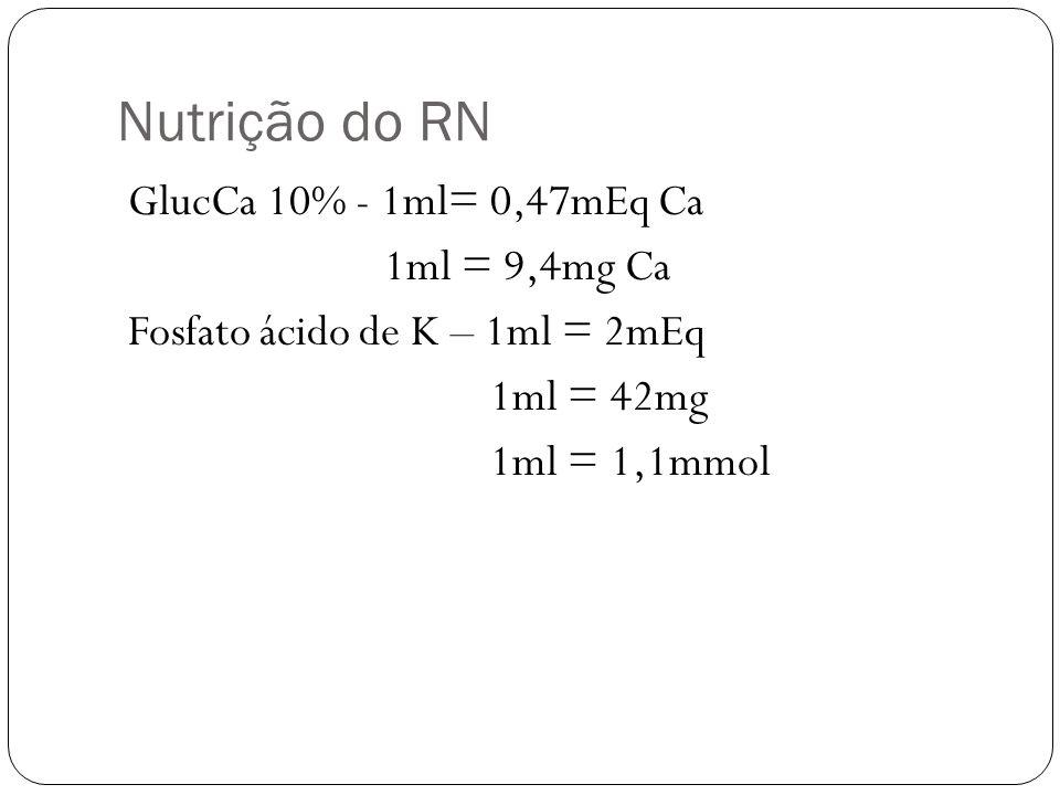 Nutrição do RN GlucCa 10% - 1ml= 0,47mEq Ca 1ml = 9,4mg Ca Fosfato ácido de K – 1ml = 2mEq 1ml = 42mg 1ml = 1,1mmol
