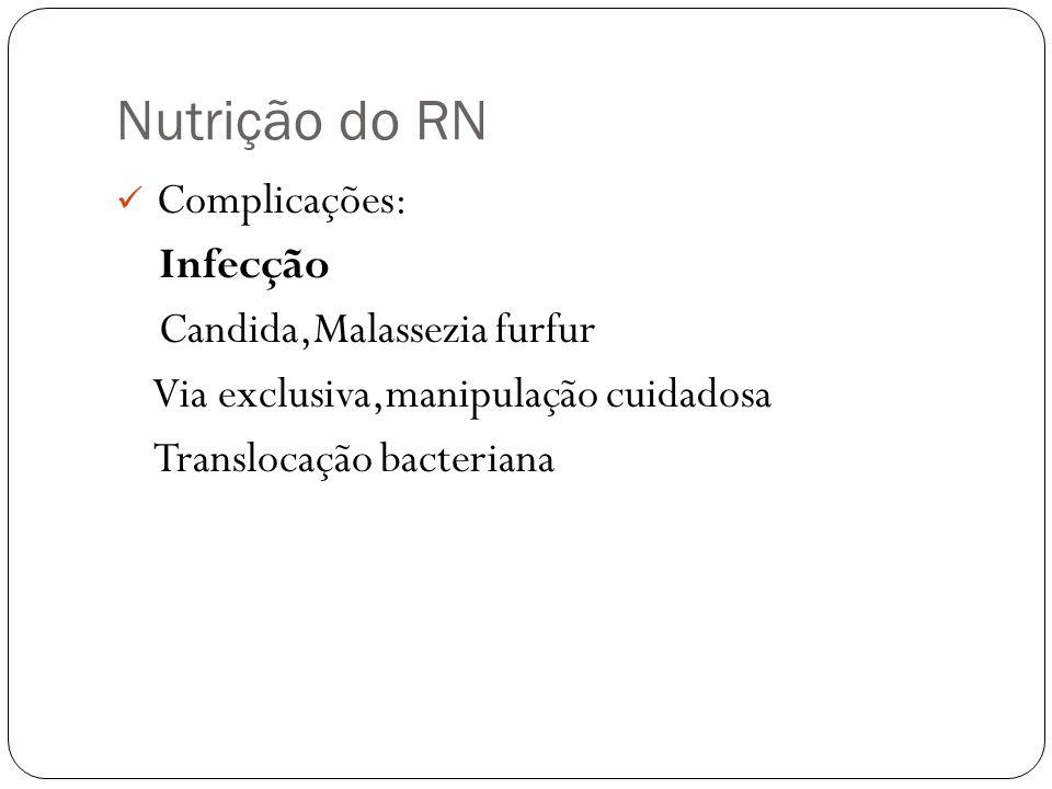 Nutrição do RN Complicações: Infecção Candida,Malassezia furfur Via exclusiva,manipulação cuidadosa Translocação bacteriana