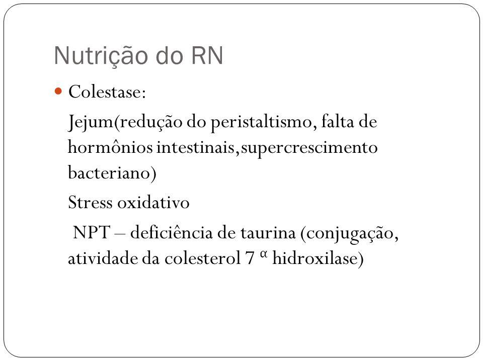 Nutrição do RN Colestase: Jejum(redução do peristaltismo, falta de hormônios intestinais,supercrescimento bacteriano) Stress oxidativo NPT – deficiênc