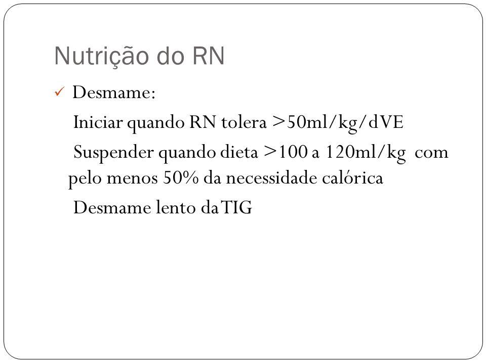 Nutrição do RN Desmame: Iniciar quando RN tolera >50ml/kg/d VE Suspender quando dieta >100 a 120ml/kg com pelo menos 50% da necessidade calórica Desma