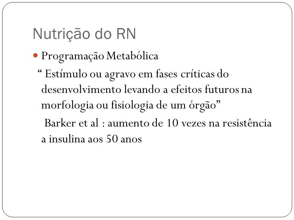 Nutrição do RN Programação Metabólica Estímulo ou agravo em fases críticas do desenvolvimento levando a efeitos futuros na morfologia ou fisiologia de
