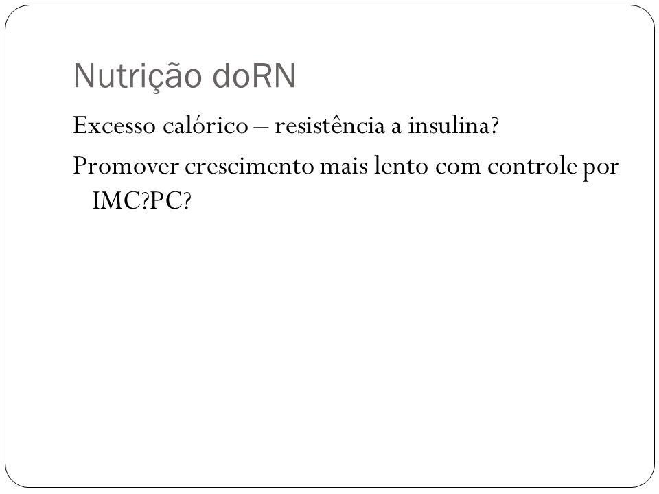 Nutrição doRN Excesso calórico – resistência a insulina? Promover crescimento mais lento com controle por IMC?PC?