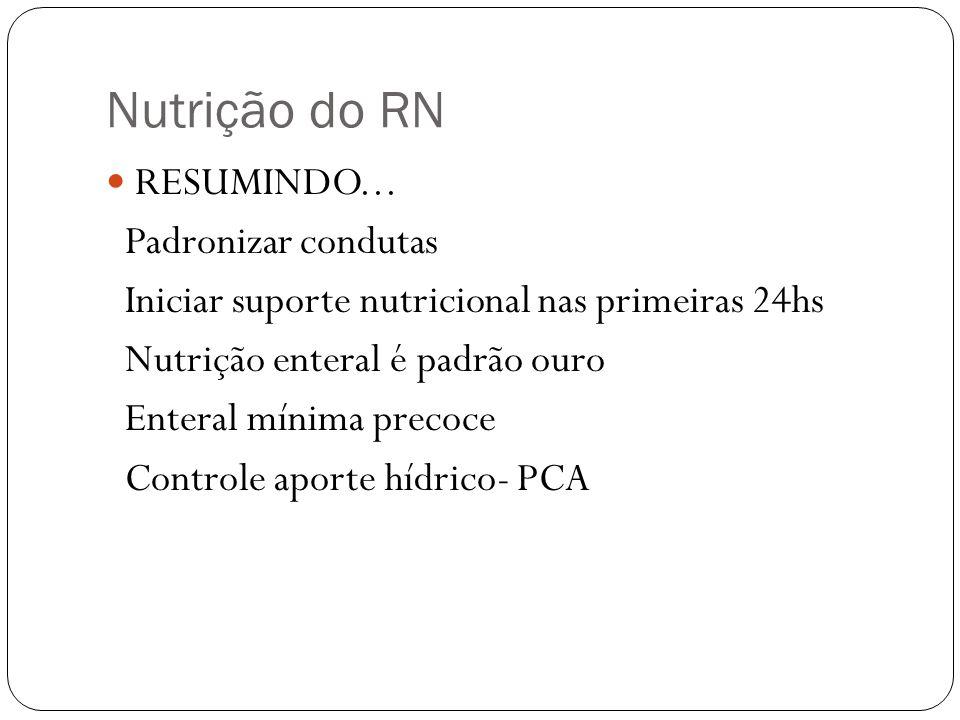 Nutrição do RN RESUMINDO... Padronizar condutas Iniciar suporte nutricional nas primeiras 24hs Nutrição enteral é padrão ouro Enteral mínima precoce C