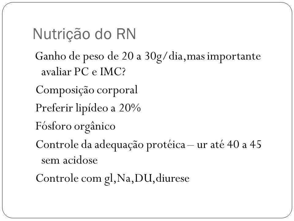 Nutrição do RN Ganho de peso de 20 a 30g/dia,mas importante avaliar PC e IMC? Composição corporal Preferir lipídeo a 20% Fósforo orgânico Controle da