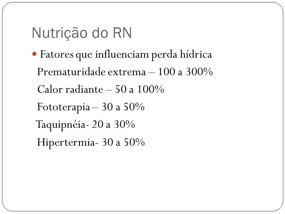 Nutrição do RN Fatores que influenciam perda hídrica Prematuridade extrema – 100 a 300% Calor radiante – 50 a 100% Fototerapia – 30 a 50% Taquipnéia-