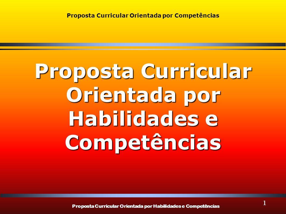 Proposta Curricular Orientada por Habilidades e Competências Proposta Curricular Orientada por Competências Proposta Curricular Orientada por Habilida