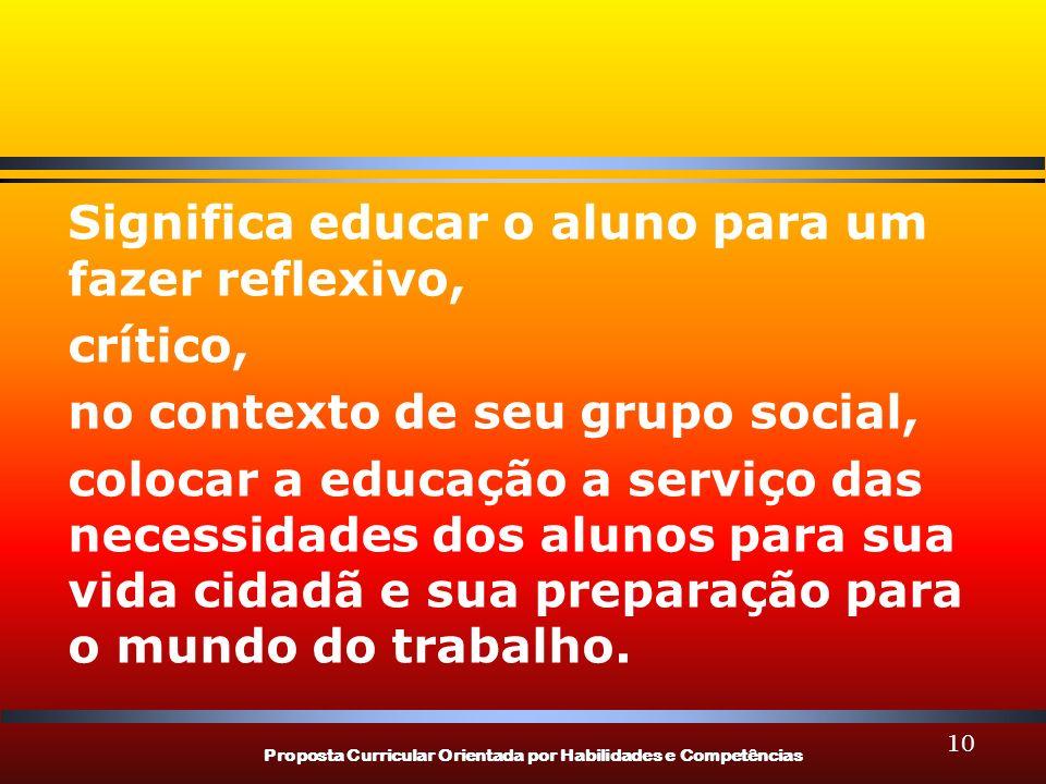 Proposta Curricular Orientada por Habilidades e Competências 10 Significa educar o aluno para um fazer reflexivo, crítico, no contexto de seu grupo so