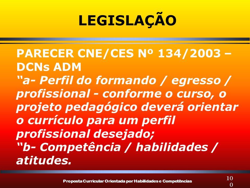Proposta Curricular Orientada por Habilidades e Competências 100 LEGISLAÇÃO PARECER CNE/CES Nº 134/2003 – DCNs ADM a- Perfil do formando / egresso / p
