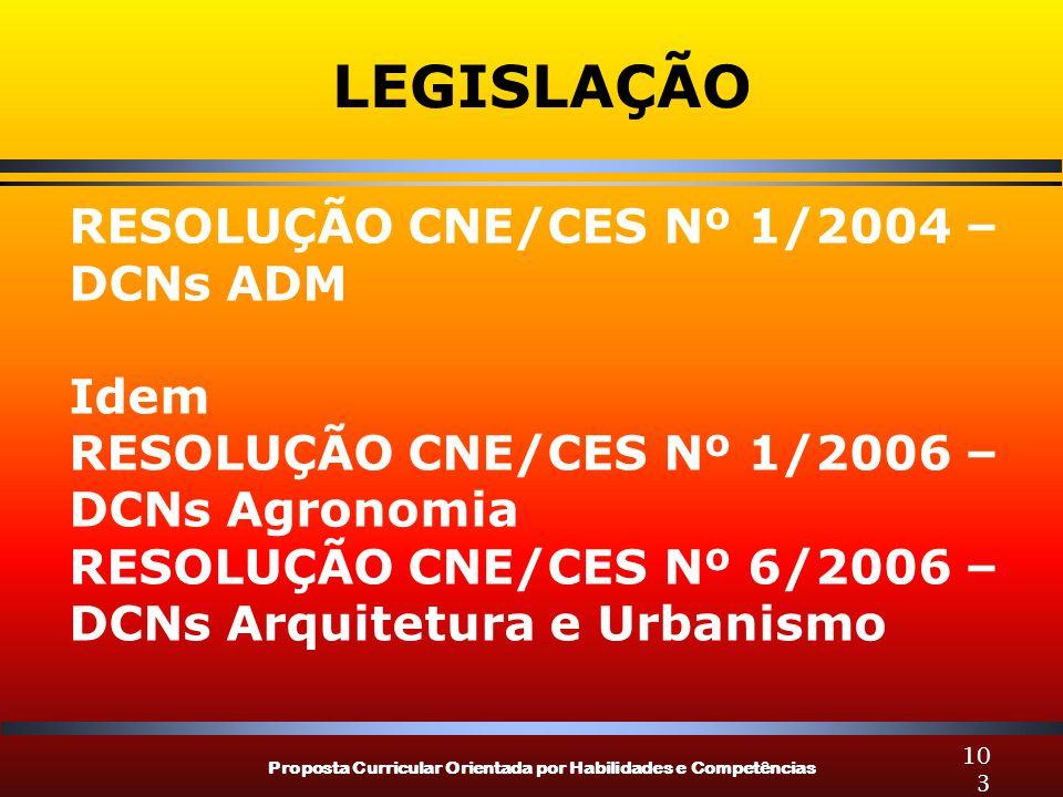 Proposta Curricular Orientada por Habilidades e Competências 103 LEGISLAÇÃO RESOLUÇÃO CNE/CES Nº 1/2004 – DCNs ADM Idem RESOLUÇÃO CNE/CES Nº 1/2006 – DCNs Agronomia RESOLUÇÃO CNE/CES Nº 6/2006 – DCNs Arquitetura e Urbanismo