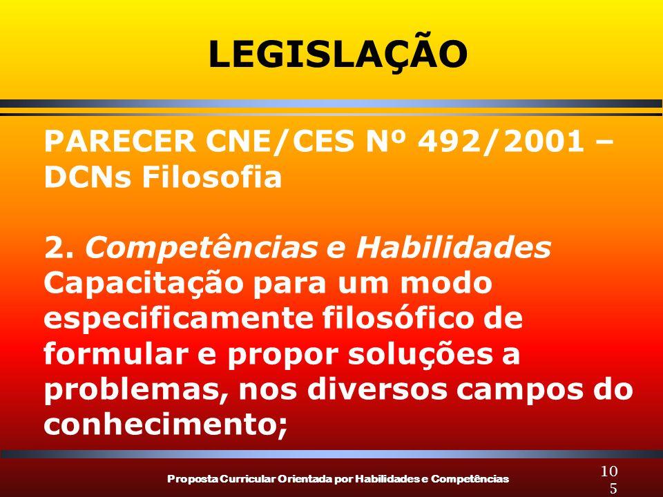 Proposta Curricular Orientada por Habilidades e Competências 105 LEGISLAÇÃO PARECER CNE/CES Nº 492/2001 – DCNs Filosofia 2.
