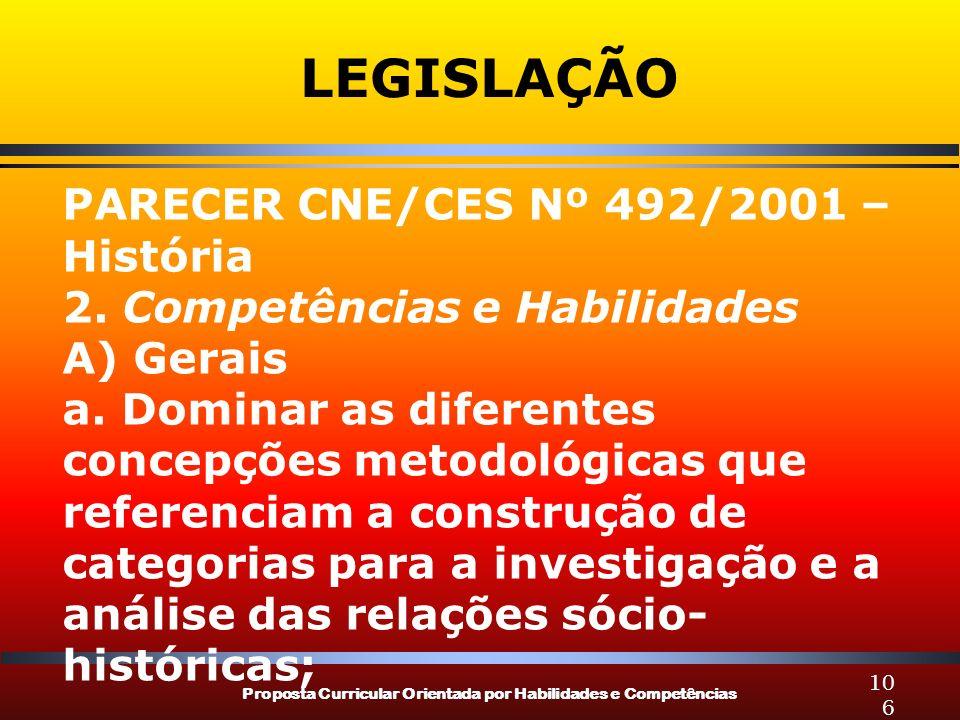 Proposta Curricular Orientada por Habilidades e Competências 106 LEGISLAÇÃO PARECER CNE/CES Nº 492/2001 – História 2. Competências e Habilidades A) Ge