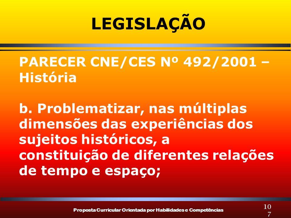 Proposta Curricular Orientada por Habilidades e Competências 107 LEGISLAÇÃO PARECER CNE/CES Nº 492/2001 – História b. Problematizar, nas múltiplas dim