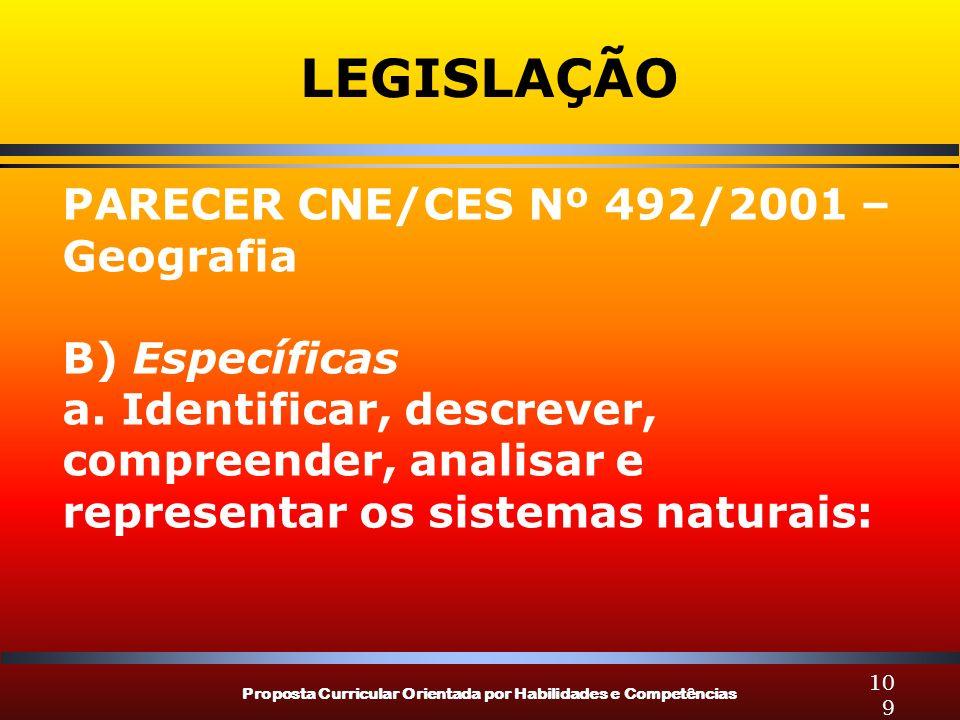 Proposta Curricular Orientada por Habilidades e Competências 109 LEGISLAÇÃO PARECER CNE/CES Nº 492/2001 – Geografia B) Específicas a. Identificar, des