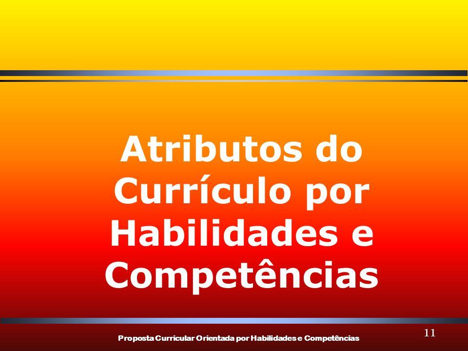 Proposta Curricular Orientada por Habilidades e Competências 11 Atributos do Currículo por Habilidades e Competências