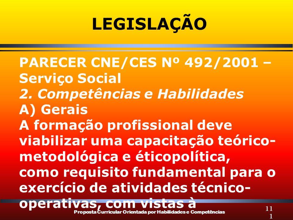Proposta Curricular Orientada por Habilidades e Competências 111 LEGISLAÇÃO PARECER CNE/CES Nº 492/2001 – Serviço Social 2.