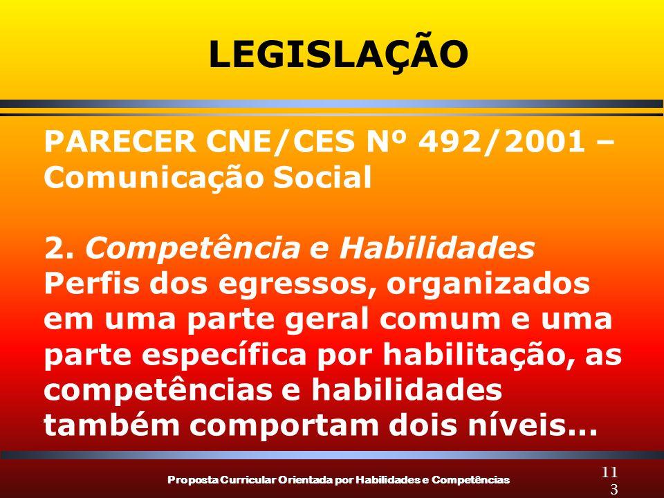 Proposta Curricular Orientada por Habilidades e Competências 113 LEGISLAÇÃO PARECER CNE/CES Nº 492/2001 – Comunicação Social 2.