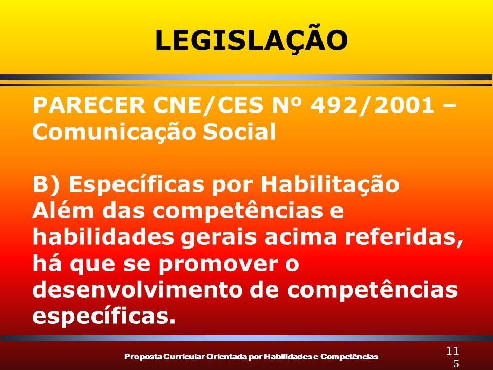 Proposta Curricular Orientada por Habilidades e Competências 115 LEGISLAÇÃO PARECER CNE/CES Nº 492/2001 – Comunicação Social B) Específicas por Habilitação Além das competências e habilidades gerais acima referidas, há que se promover o desenvolvimento de competências específicas.