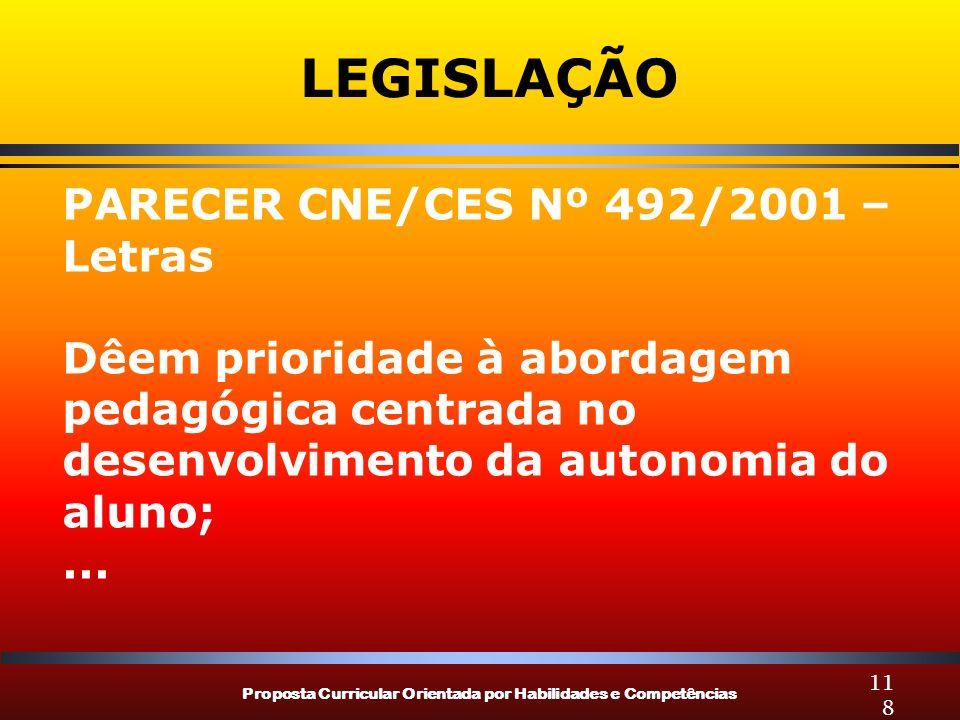 Proposta Curricular Orientada por Habilidades e Competências 118 LEGISLAÇÃO PARECER CNE/CES Nº 492/2001 – Letras Dêem prioridade à abordagem pedagógic