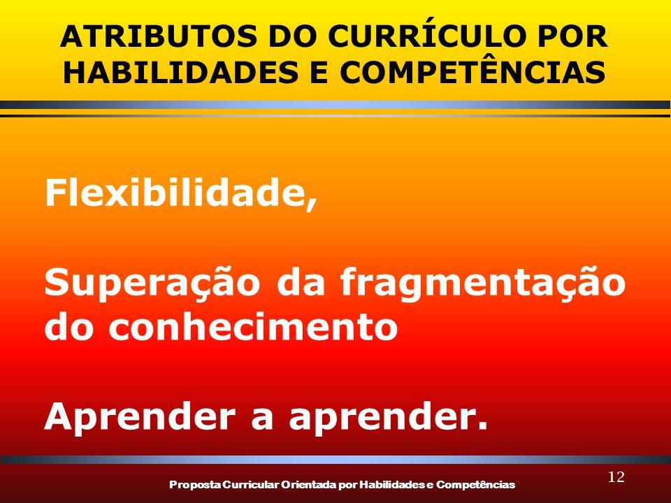 Proposta Curricular Orientada por Habilidades e Competências 12 ATRIBUTOS DO CURRÍCULO POR HABILIDADES E COMPETÊNCIAS Flexibilidade, Superação da frag
