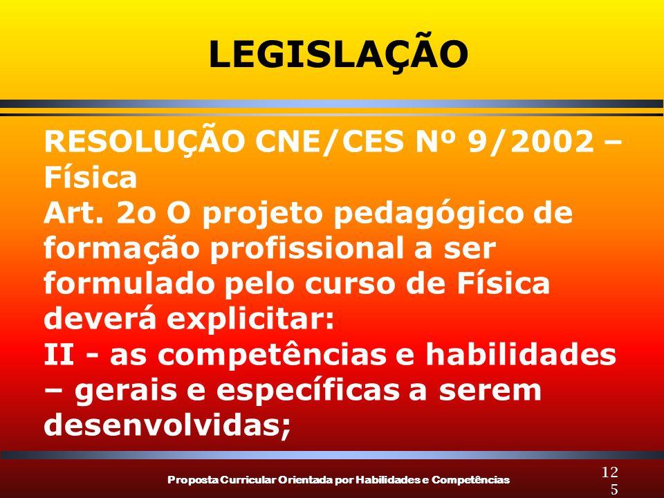 Proposta Curricular Orientada por Habilidades e Competências 125 LEGISLAÇÃO RESOLUÇÃO CNE/CES Nº 9/2002 – Física Art. 2o O projeto pedagógico de forma