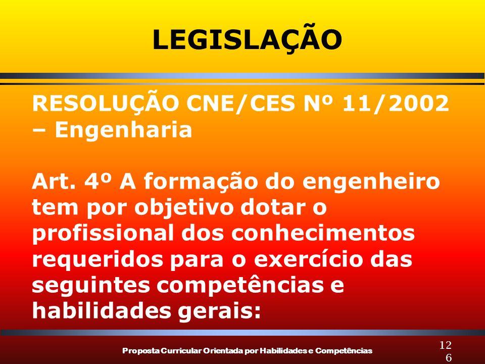 Proposta Curricular Orientada por Habilidades e Competências 126 LEGISLAÇÃO RESOLUÇÃO CNE/CES Nº 11/2002 – Engenharia Art. 4º A formação do engenheiro