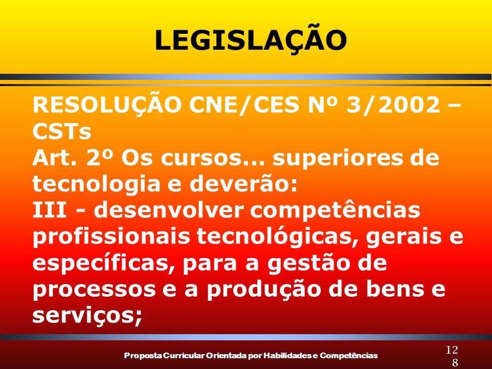 Proposta Curricular Orientada por Habilidades e Competências 128 LEGISLAÇÃO RESOLUÇÃO CNE/CES Nº 3/2002 – CSTs Art. 2º Os cursos... superiores de tecn