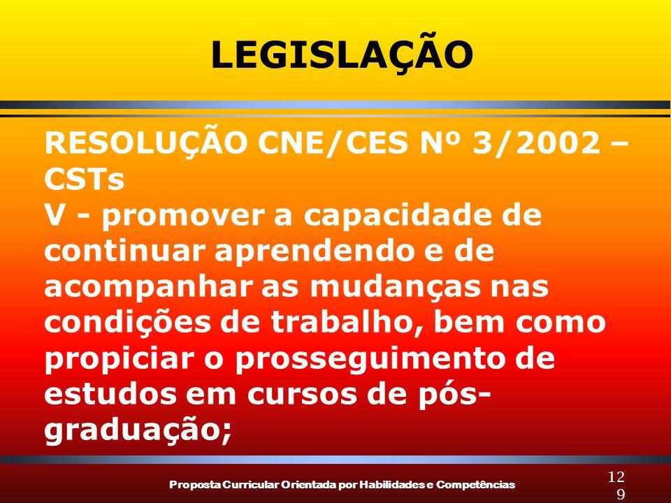 Proposta Curricular Orientada por Habilidades e Competências 129 LEGISLAÇÃO RESOLUÇÃO CNE/CES Nº 3/2002 – CSTs V - promover a capacidade de continuar
