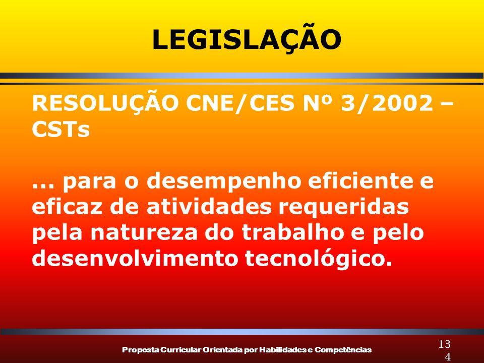 Proposta Curricular Orientada por Habilidades e Competências 134 LEGISLAÇÃO RESOLUÇÃO CNE/CES Nº 3/2002 – CSTs... para o desempenho eficiente e eficaz