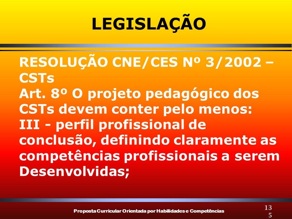 Proposta Curricular Orientada por Habilidades e Competências 135 LEGISLAÇÃO RESOLUÇÃO CNE/CES Nº 3/2002 – CSTs Art. 8º O projeto pedagógico dos CSTs d