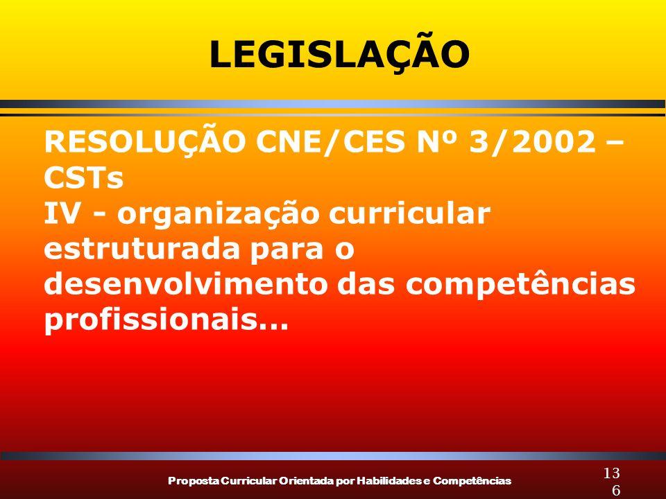 Proposta Curricular Orientada por Habilidades e Competências 136 LEGISLAÇÃO RESOLUÇÃO CNE/CES Nº 3/2002 – CSTs IV - organização curricular estruturada