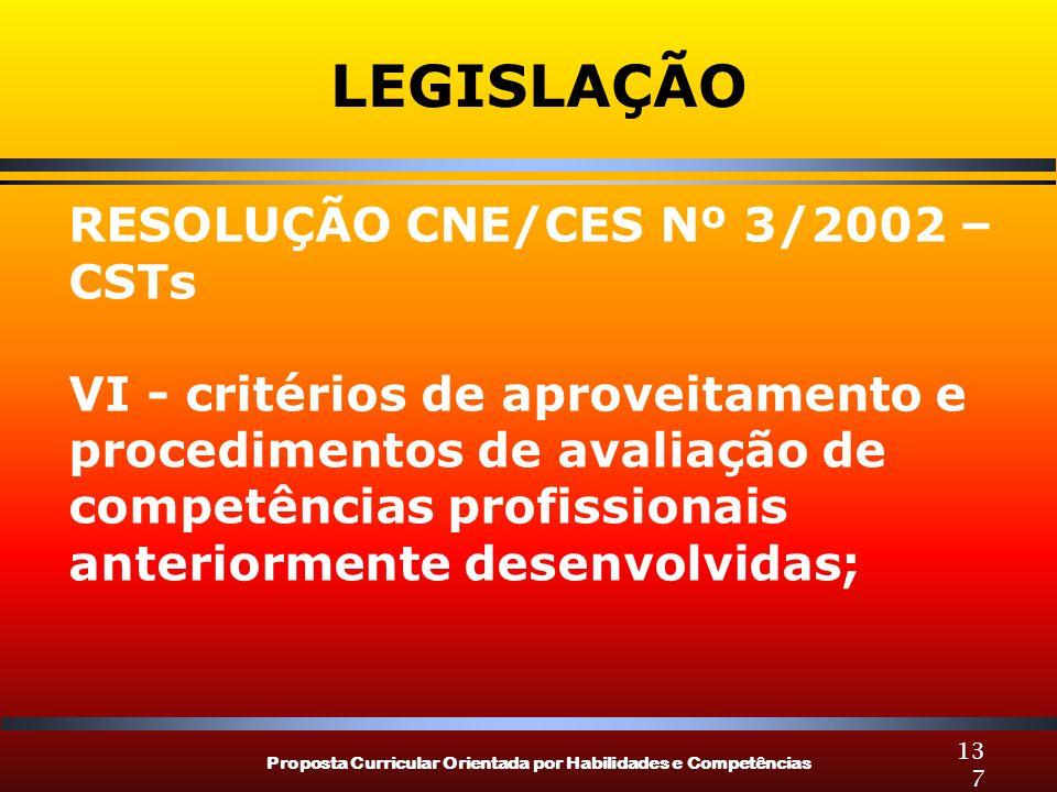 Proposta Curricular Orientada por Habilidades e Competências 137 LEGISLAÇÃO RESOLUÇÃO CNE/CES Nº 3/2002 – CSTs VI - critérios de aproveitamento e procedimentos de avaliação de competências profissionais anteriormente desenvolvidas;