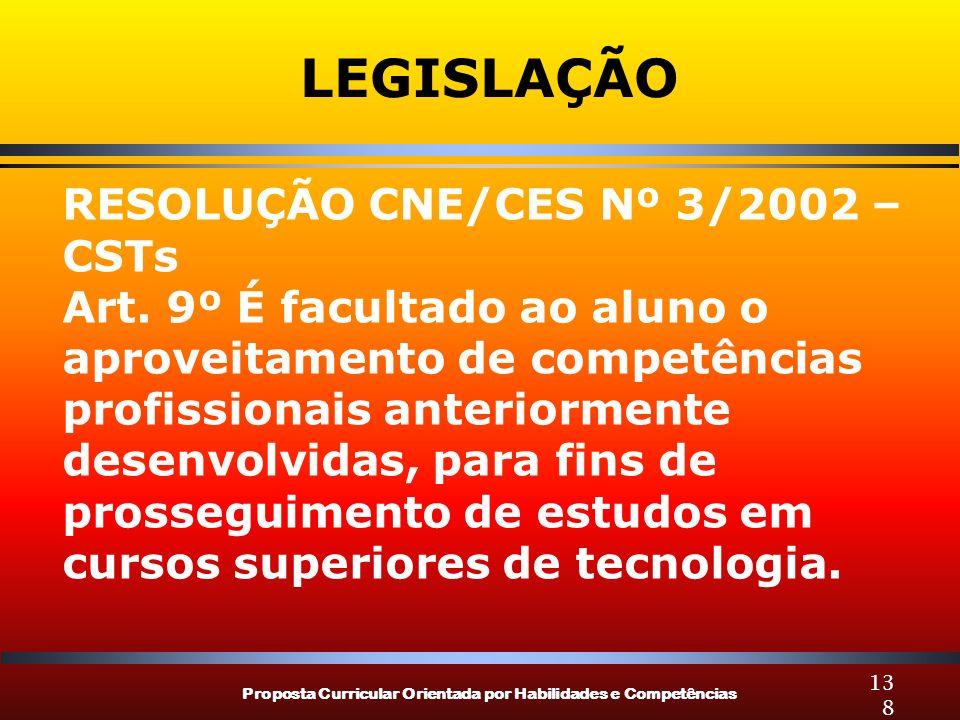 Proposta Curricular Orientada por Habilidades e Competências 138 LEGISLAÇÃO RESOLUÇÃO CNE/CES Nº 3/2002 – CSTs Art. 9º É facultado ao aluno o aproveit