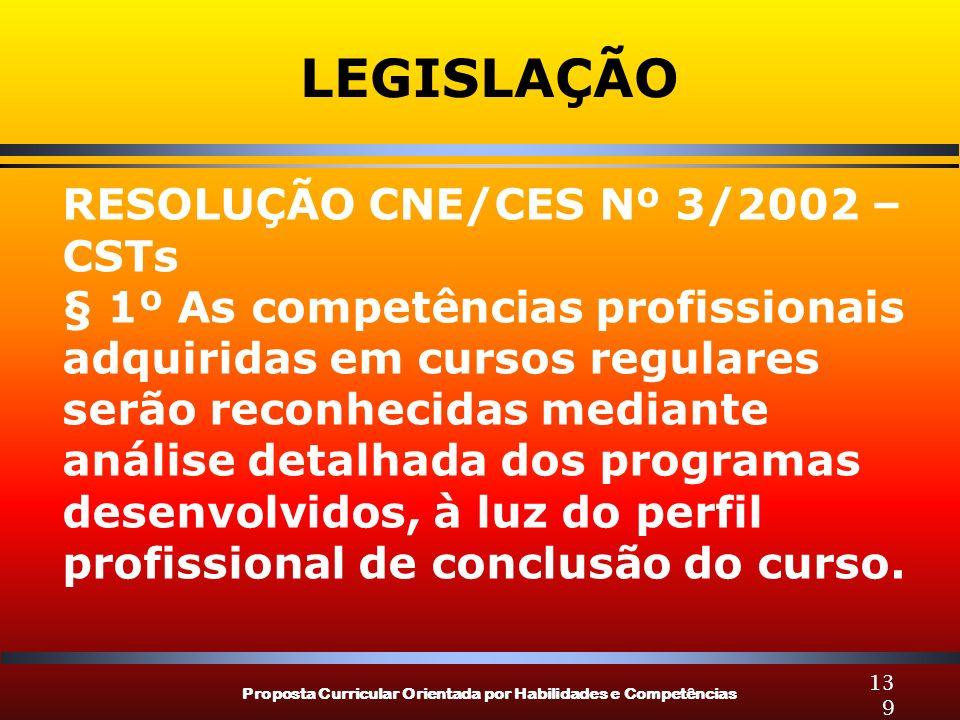 Proposta Curricular Orientada por Habilidades e Competências 139 LEGISLAÇÃO RESOLUÇÃO CNE/CES Nº 3/2002 – CSTs § 1º As competências profissionais adqu